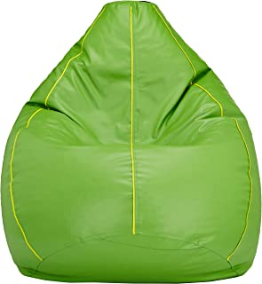Amazon Brand - Solimo XL Bean Bag Cover (Green with Yellow Piping)