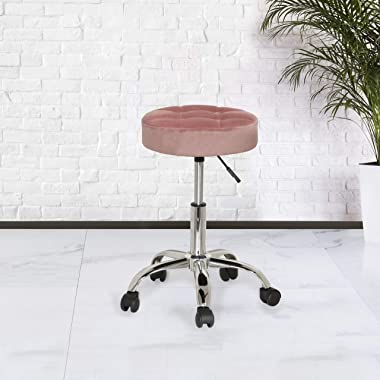 Hillsdale Nora Tufted Adjustable Backless Vanity/Office Stool with Casters, Dusty Pink Velvet
