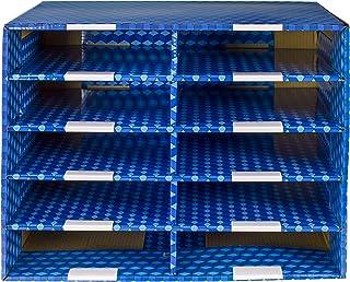 Storex 10-Compartment Mailroom Sorter, Plasticized Dry-Erase Surface, Blue (80301U01C), 21 x 12.5 x 16.5 Inches, 10 Compar...