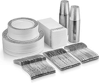 350 Piece Silver Dinnerware Set - 50 Guest Silver Lace Design Plastic Plates - 50 Silver Plastic Silverware - 50 Silver Cu...