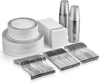 350 Piece Silver Dinnerware Set - 100 Silver Lace Design Plastic Plates - 50 Silver Plastic Silverware - 50 Silver Cups - 50 Linen Like Silver Napkins, 50 Guest Disposable Silver Dinnerware Set