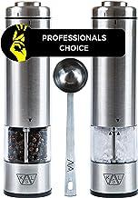 KSL Electric Salt and Pepper Grinder Set (Batteries included) - Automatic Adjustable Shakers - Stainless Steel Powered Spi...