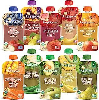 بسته های متنوع کیسه غذای کودک Happy Baby Organics کاملاً واضح ساخته شده ، 4 اونس ، 10 عدد