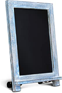 "HBCY Creations Rustic Blue Wood Tabletop Chalkboard with Legs/Vintage Wedding Table Sign/Small Kitchen Countertop Memo Board/Antique Wooden Frame (9.5"" x 14"" Inches) (Rustic Blue)"