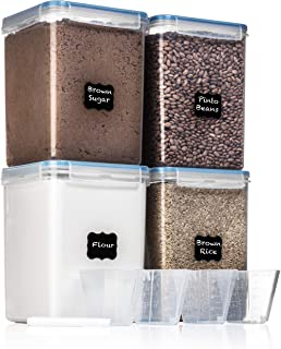 EXTRA LARGE WIDE & DEEP Food Storage Airtight Pantry Containers [Set of 4] 5.2L /176 oz + 4 Measuring Cup + 18 FREE Labels & Marker Ideal for Sugar, Flour, Baking Supplies - Clear Plastic - Leakproof