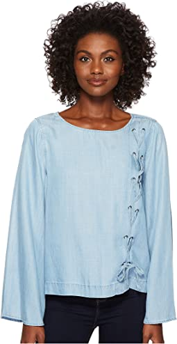 TWO by Vince Camuto Long Sleeve Side Lace-Up Tencel Blouse