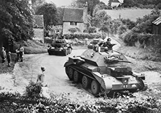 Home Comforts Cruiser Mk IV Tanks of 5th Royal Tank Regiment, 1st Armoured Division, Driving Through a Surrey vill Vivid Imagery Laminated Poster Print 24 x 36