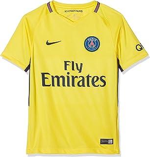 قميص باريس سان جيرمان لكرة القدم قصير الاكمام بقصة مستقيمة جيدة التهوية من قماش الجورسيه ومزين بشعار نايك