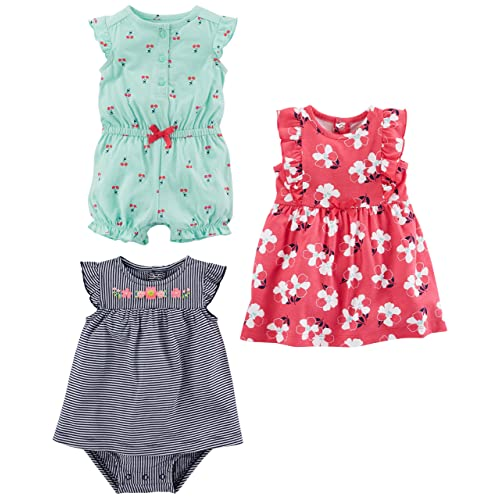 5cd820d1cbaa Simple Joys by Carter's Baby Girls' 3-Pack Romper, Sunsuit and Dress