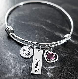 Mom Bracelet Personalized Charm Bangle Mom Newborn Baby Jewelry Hand Stamped Baby Shower Gift