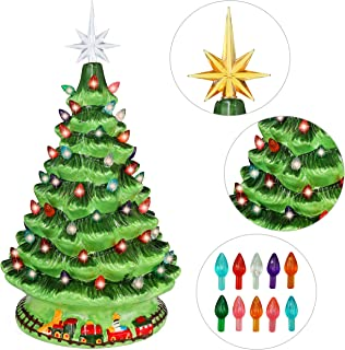 """Joiedomi 15"""" Tabletop Ceramic Christmas Tree with Train, Prelit Xmas Tree with Extra Yellow Star Topper & Bulbs for Best Desk Decoration"""