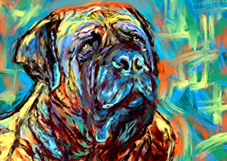 Bull Mastiff Art Print, BullMastiff Gifts, Mastiff dogs, Dog painting Wall Art, Colorful Modern Bull mastiff decor hand signed by Oscar Jetson