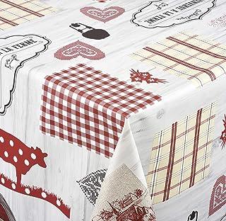 Venilia Nappe Country Linge de Table Toile cirée Maintenance réduite hydrophobes, Polyester, PVC, ovales, 140x 200cm, 55...