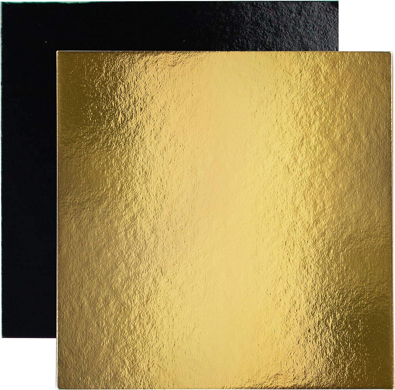 Juego de 10 soportes de pastel cuadrados en cajas de colores, con Tallas de su elección (Dorado / Negro, 30 cm)