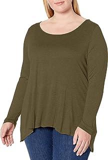 Paper + Tee Women's Plus Size Scoop Neck Long Sleeve Hi/lo Knit Top
