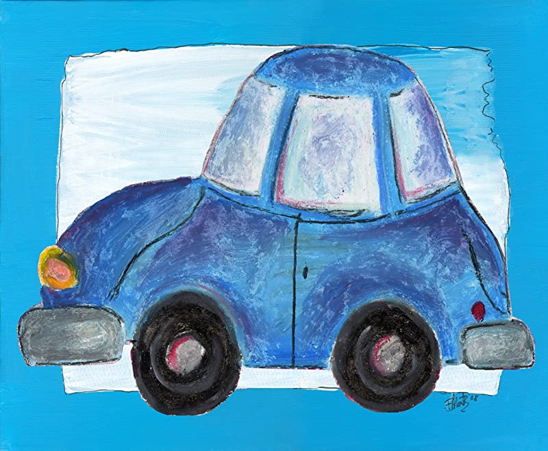 The Kids Room By Stupell Blue Car With Blue Border Rectangle Wall Plaque