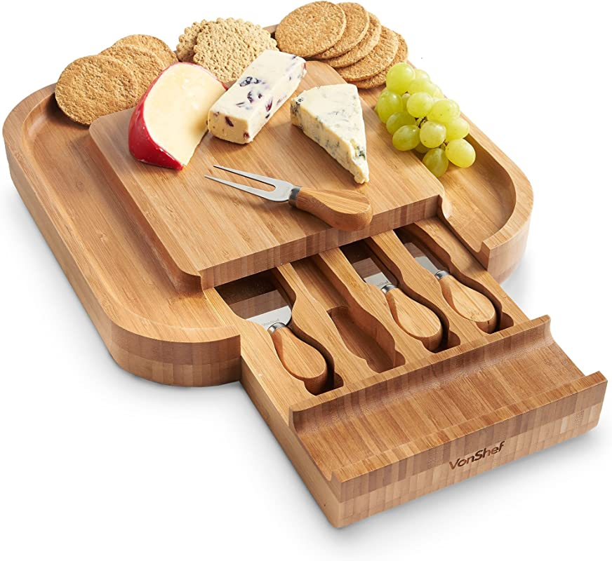 VonShef Square Bamboo Cheese Board Server Plate With Slide Out 4 Piece Stainless Steel Cheese Knife Serving Utensil Set Wooden With Gift Box