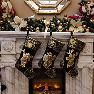 WEWILL 18'' Luxury Gold Christmas Stockings Shiny Bag for Kids, Family, Set of 3,Santa, Snowman, Reindeer