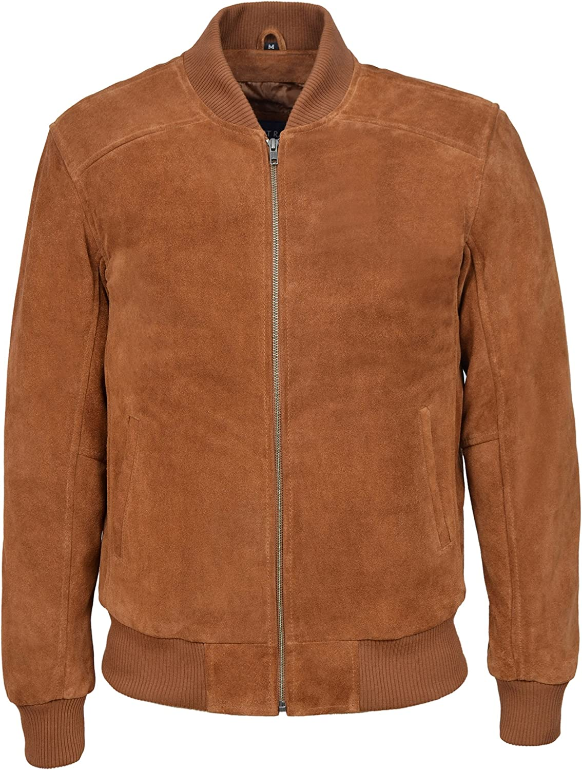 Smart Range 70's Classic Bomber Men's Tan Plain Suede Wax Biker Style Italian Fitted Real Leather Jacket 275-P