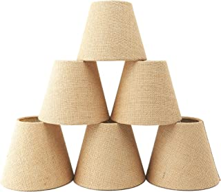 Natural Burlap Chandelier Shades Set of 6,Warmstore Drum Shaped Hardback Clip On Ceiling Lamp Shades,6 Inch For E12 Candelabra bulb