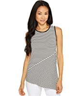 Vince Camuto Specialty Size - Petite Sleeveless Asymmetrical Hem Simple Stripe Top