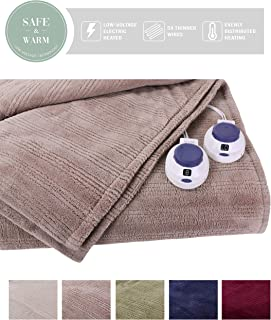 SoftHeat by Perfect Fit | Ultra Soft Plush Electric Heated Warming Blanket with Safe & Warm Low-Voltage Technology (Queen, Beige)