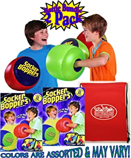 Socker Boppers Inflatable Bop'em, Sock'em, Boxing Pillows Battle Set Bundle with Bonus Matty's Toy Stop Storage Bag - 2 Pack (2 Pairs, 4 Boxing Pillows Total) Colors are Assorted & May Vary