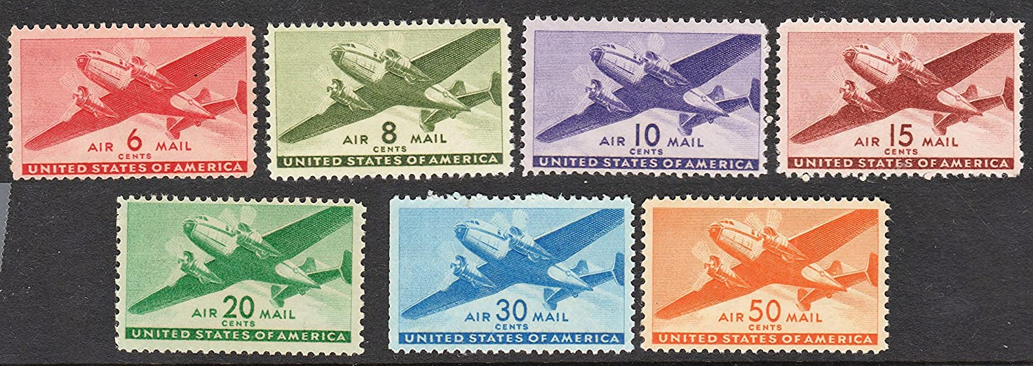 Classic US Transport Airmail Stamps complete set Mint Neverhinged Scott C25C31 by USPS