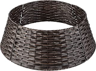 LordofXMAS Christmas Tree Collar Basket, Handwoven Plastic Ring for Artificial Christmas Trees Decoration, 20-Inch Chestnut Brown
