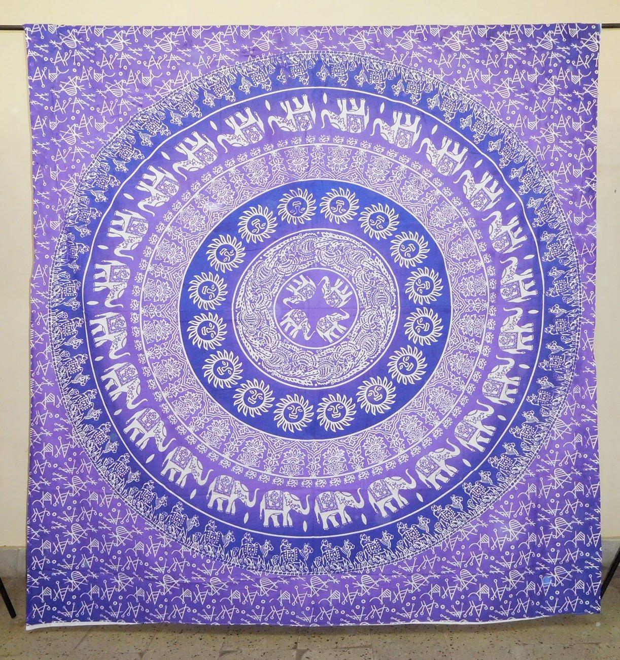Sol elefante morado de flores Mandala tapiz colgar en la pared indio Mandala tapices colcha de