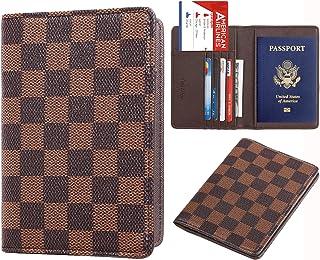 Rita Messi Luxury Passport Holder Cover Case Checkerboard PU Vegan Leather RFID Blocking Travel Organizer Card Holder(Victoria)