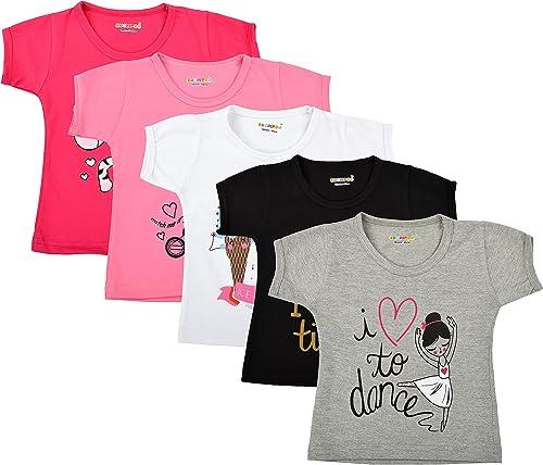 Kuchipoo Girl's T-Shirt (Pack of 5)