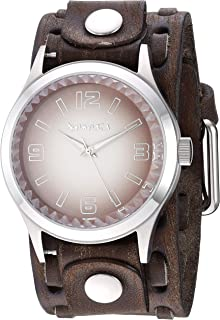 Nemesis ' Gradient Pointium' Quartz Stainless Steel and Leather Casual Watch, Color:Brown (Model: BFWTK217B