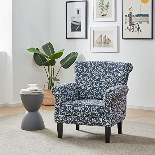 2021 BELLEZE Rosette new arrival wholesale Scroll Arm Fabric Upholstered Club Chair Nailhead Trim Accent Chair, Navy/White sale