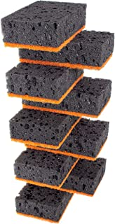 Okleen Black Multi Use Scrub Sponges. Made in Europe. 9 Pack, 4.3x2.8x1.4 inches. Heavy Duty and Non Scratch Fiber. Odorless Durable and Delicate Mold Scrubber for Kitchen and Household Cleaning