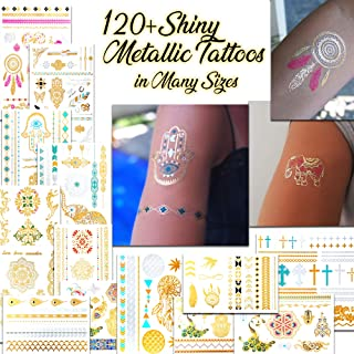 Metallic Temporary Tattoos for Women and Girls - Henna, Hamsa, Feathers, Cross and Other Shiny Gold and Silver Tattoo Stickers for Body Art (120+ Metallic Tattoos - 14 Sheets)