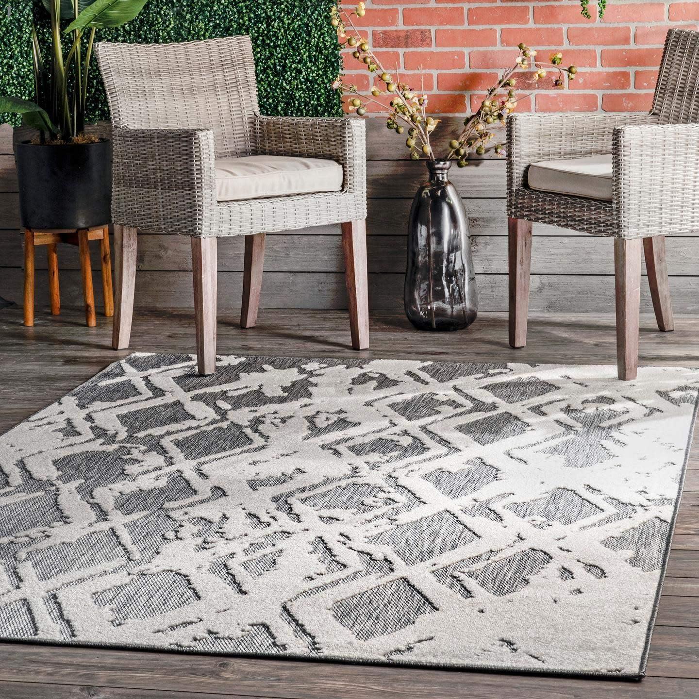 nuLOOM Blaire Textured Lattice Indoor Store Outdoor 5' Sales for sale Area Rug 3