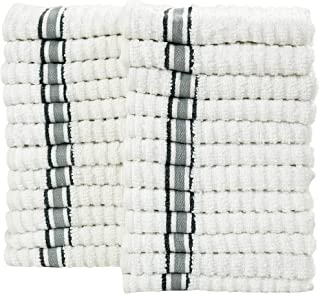 Bliss Casa Luxury Washcloths Zero-Twist 12 x 12 Inch (24 Pack) Vat Dyed Stripes Bleach Friendly Premium Quality Cotton Face Towels Set Highly Absorbent and Soft Bathroom Washcloths (Gray)
