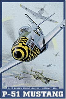 B-25 Bomber Escort Mission - P-51 Mustang (20x30 Premium 1000 Piece Jigsaw Puzzle, Made in USA!)