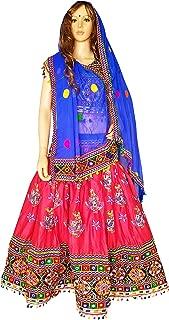 Nanda Women Rayon Gujarat Handmade Lehenga-Kutch Embroidered Ghagra-Gujarati Chaniya Choli-Navratri Ras Garba Costume Original Mirror Work Dress Peach Free Size
