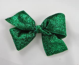 Emerald Green Glitter Ribbon Hair Bow