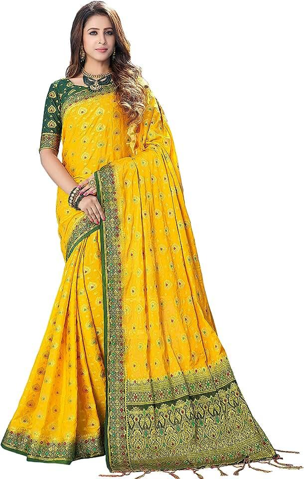 Indian Shaily Retails Women's Kanchipuram Silk Blend Saree With Unstiched Blouse Piece Saree