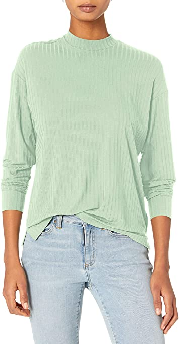 Amazon Brand - Daily Ritual Women's Rayon Spandex Wide Rib Drop Sleeve Mock Neck Shirt