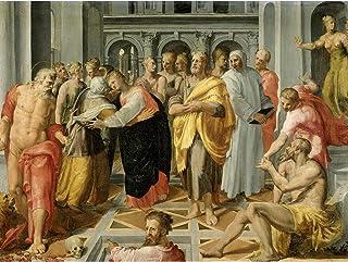 Tibaldi Visitation Meeting Mary Elizabeth Saints Premium Wall Art Canvas Print 18X24 Inch