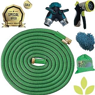 Expandable Garden Hose COMBO 50 Ft Long | Heavy Duty Water Hose | FREE Heavy Duty Metal Spray Nozzle, Microfiber Car Wash Mitt & 2 Way Splitter | Retractable Hose for Gardening RV Motorhome