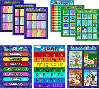Bememo 9 Pieces Educational Preschool Posters Learning Poster Kit for Toddlers, Alphabet,..
