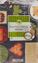 """Vintage Thanksgiving Tag Collage Holiday Flannel Backed Vinyl Tablecloth: Fun Designs of Fall Leaves, Apples, Pumpkins, Sunflowers, Pie and more! 52"""" x 70"""" Inches Multi"""