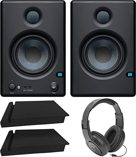 """PreSonus Eris E4.5 BT-4.5"""" Near Field Studio Monitors with Bluetooth for Computers, Turntables, TV Bundle with Blucoil 2-Pack of Acoustic Isolation Pads, and Samson SR350 Over-Ear Stereo Headphones"""
