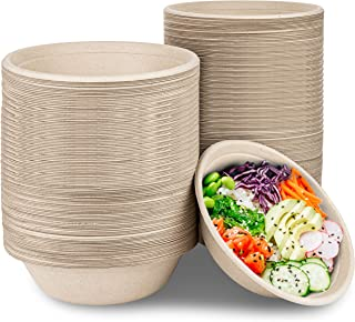 Compostable Bagasse Bowls - Eco Friendly Dinnerware - Biodegradable and Recyclable, 100 Pack, 32 Oz