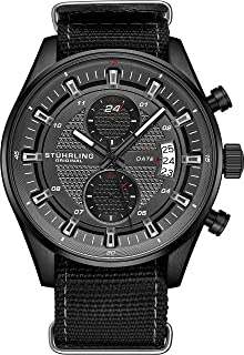 Stuhrling Original Men's Analog Watch – Stainless Steel True Dual Time Zone GMT W/Date Sports Watch – Comfortable, Durable NATO Nylon Strap – 845 Series
